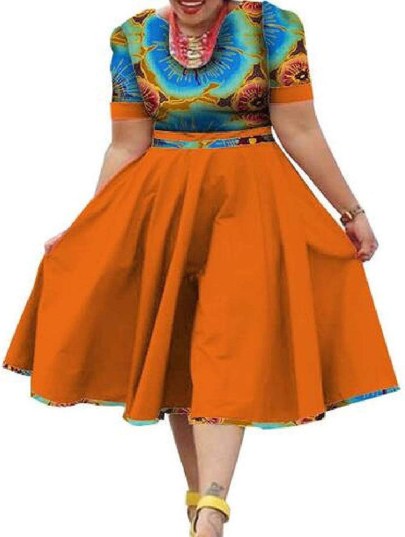 BU2H Women Short Sleeve African Printed Dashiki Round Neck ALine Midi Dress