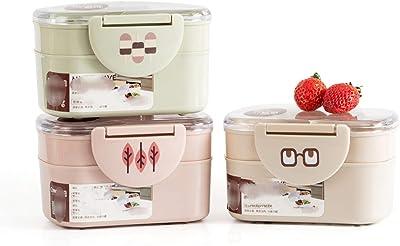 弁当箱ピクニックスクールオフィスワーカー、Lベージュのプラスチック電子レンジポータブル二重層食品容器フルーツストレージ