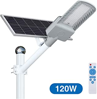Solar Street Lights Outdoor Dusk to Dawn,120W LED Flood Lights with Remote Control, 8100 Lumens Motion Sensor Waterproof Security Led Pole Light for Yard, Garden, Pathway (Mounting Arm Included)
