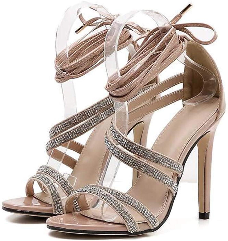 11.5Cm Stiletto Cross Straps High Heel Sandals Women Sexy Open Toe D'Orsay Rhinestone Party Dress shoes OL Court shoes EU Size 35-40