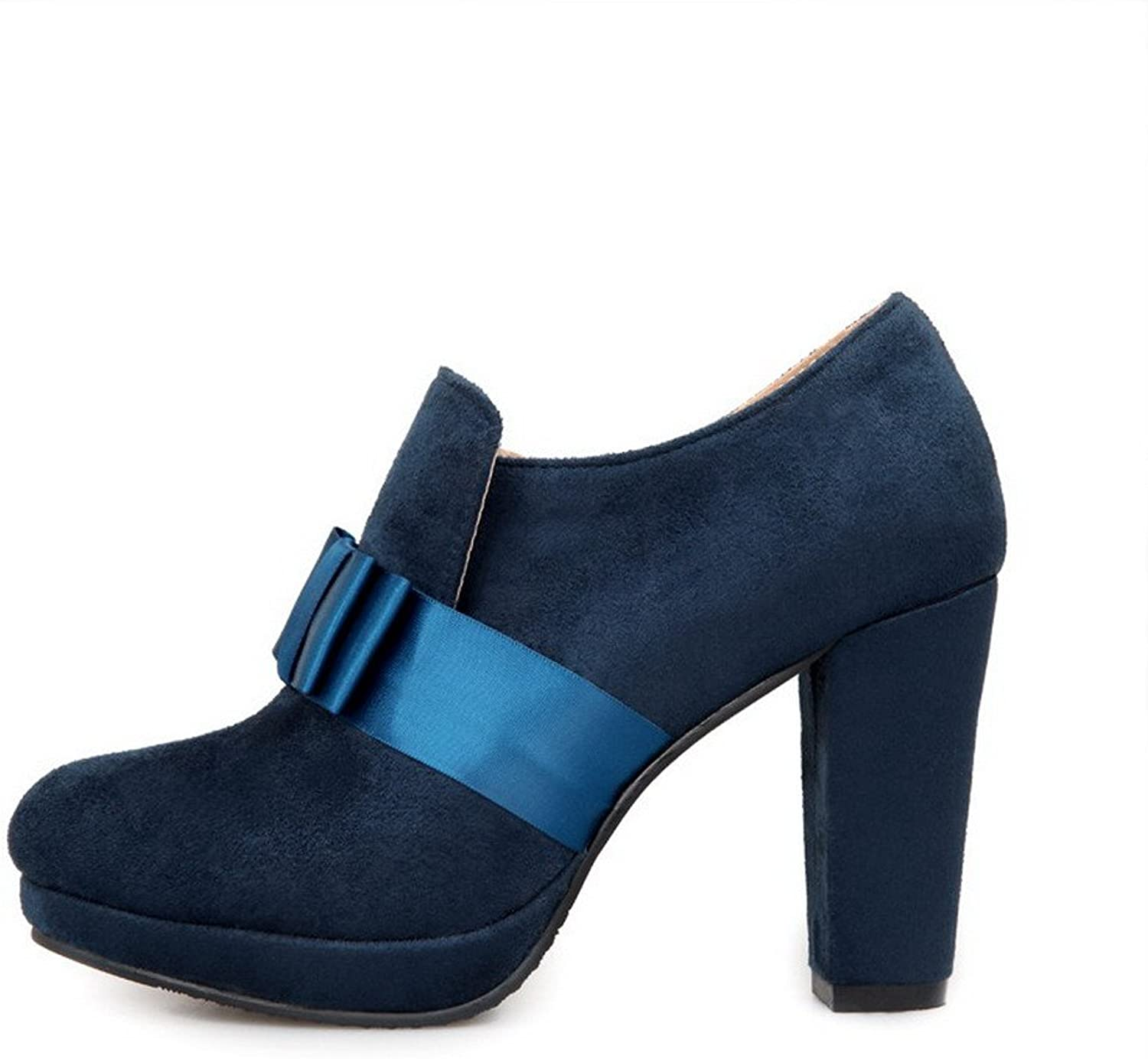 WeiPoot Women's Frosted Solid Closed-Toe Boots with Chunky Heels and Platform, bluee, 37