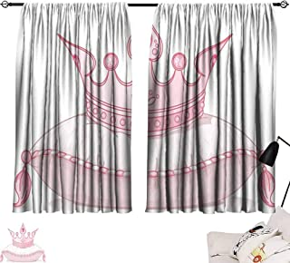 Lgckeg Decor Curtains Queen Cartoon Style Cute Pink Princess Crown on Pillow Fairy Tail Fantasy Girlish Fashion Children's Bedroom Curtain W55 x L39 Pale Pink