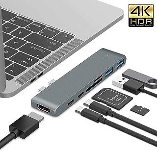 قاعدة شحن محمولة، يو إس بي سي ثنائي النوع سي ماك بوك برو إلى قارئ بطاقات HDMI TF قاعدة إرساء محور 4K Thunderbolt3 USB-C SD...