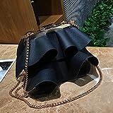CX TECH Frauen Persönlichkeit Kreative Faltenrock Umhängetasche Kurier Paket Trend Kette Tasche Vielseitig Persönlichkeit Einfarbig Wilde Retro Handtasche Nette Wilde Tote,Black