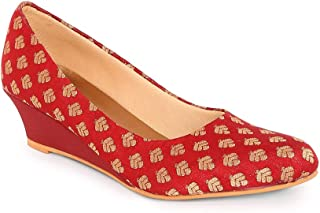 KANVAS Women Red Ethnic Printed Wedge Heels