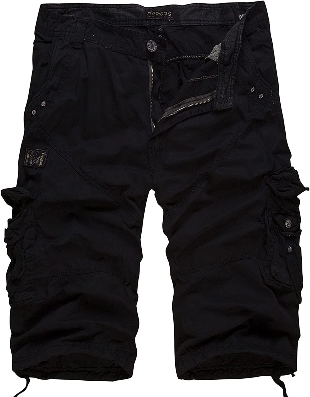 XiAn New Loose Large Size Cargo Shorts Cotton Men Casual Solid Color Patchwork Military White Knee Length