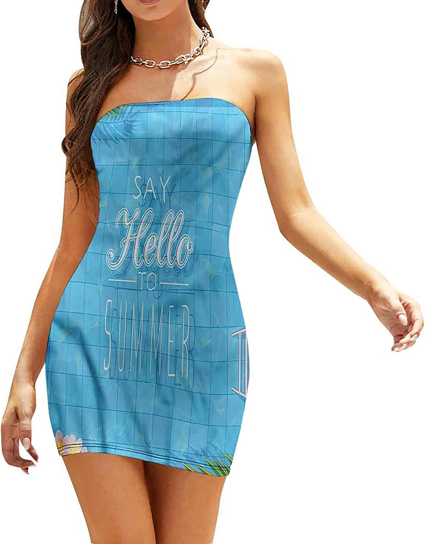Women's Tube Top Beach Mini Dress Sketch Country House Dresses