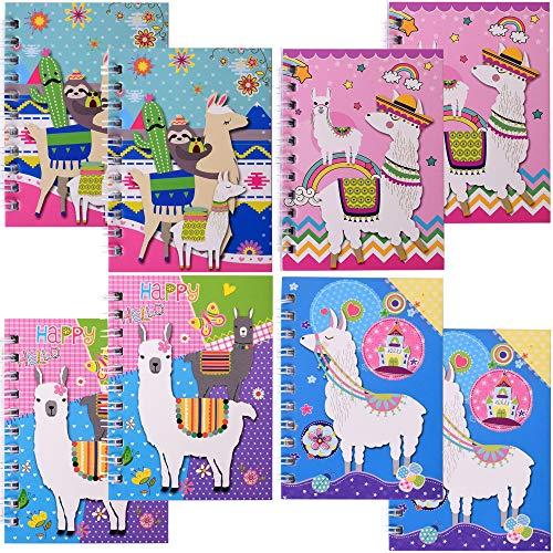 TE-Trend 8 unidades con diseño de alpaca Alpaca con espiral, para niños, niñas, 40 hojas, 75 x 105 mm, 4 compartimentos, varios colores