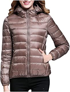 Women Faux Fur Collar Zip Up Front Coat Quilted Jacket Outwear Cardigan