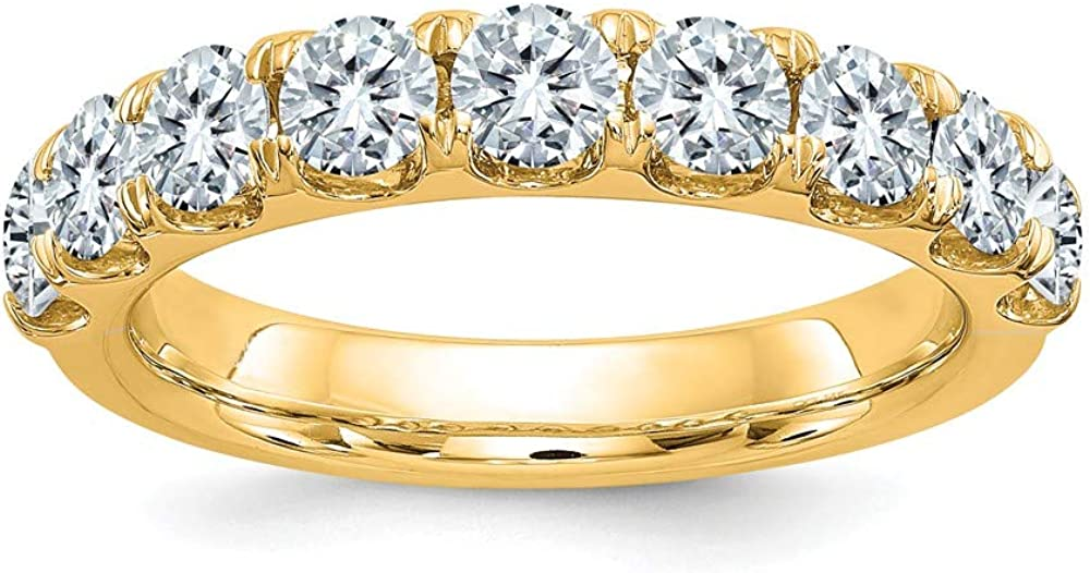 14k Yellow Gold 1ct. 9 Stone D E F Pure Moissanite Wedding Ring Band Size 7.00 Db Fine Jewelry For Women Gifts For Her