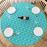 Lifesmells Round Fitted Vinyl Tablecloth Great for Xmas/Parties/Home,Oil&Waterproof Wipeable,Flannel Backed&Elastic Edge,Cyan-Blue Moroccan Trellis Patterns for Indoor Outdoor Table of 36-44