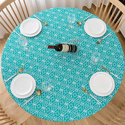 Lifesmells Round Fitted Vinyl Tablecloth Great for Xmas/Parties/Home,Oil&Waterproof Wipeable,Flannel Backed&Elastic Edge,Cyan-Blue Moroccan Trellis Patterns for Indoor Outdoor Table of 36-44' Diameter