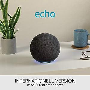 Nya Echo (4:e generationen), internationell version   Med premiumljud, smart home hub och Alexa   Grafitgrå   Svenskt språk ej tillgängligt