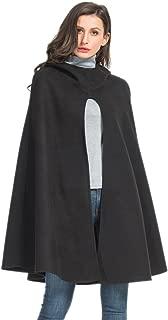 Choies Women's Split Front Hooded Cape Poncho Cape Soft Woolen Coat Black/Gray