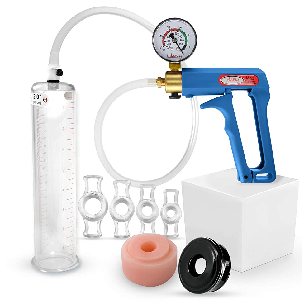 LeLuv Maxi Blue Plus Vacuum Gauge Penis Pump Bundle with Silicone Donut Seal, Soft Black TPR Seal & 4 Sizes of Constriction Rings 9 x 2 Inch Diameter Cylinder