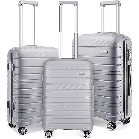Kono Set de 3 Valises Rigide Ensemble de Bagages en Polypropylène Ultra Léger à 4 roulettes avec Serrure TSA 55cm Bagage Cabine + 65cm + 76cm (Gris)