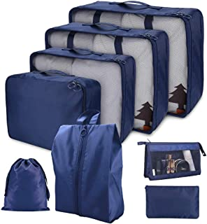Cloudsky 7PCS Luggage Suitcase Organizer + 1PCS Free Cosmetic Pouch, Lightweight Waterproof Oxford Packing Cubes for Cloth...