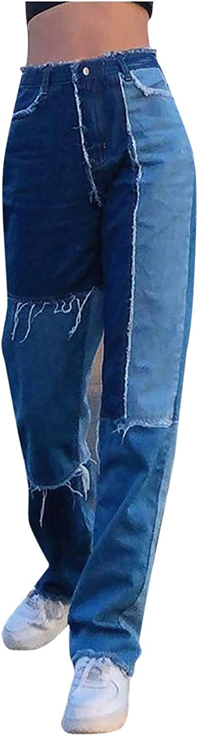 ZAKIO Patchwork Jeans for Women High Waisted Baggy Stretch Denim Pants Casual Vintage Relaxed Fit Straight Leg Jeans