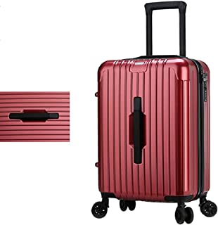 SMLCTY Suitcase Luggage PC+ABS Material with TSA Lock and 4 Spinner Wheels,Trolley Case, Waterproof Adjustable Lever 360° Rotation (Color : Burgundy, Size : 24 inch)