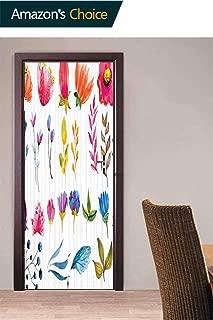 Door Wall Door Decals Wall Stickers Decor, Watercolor Garden Design Door Stickers Self Adhesive Door Cover Removable 3D Art Wallpaper, 30.3W x 78.7H Inches