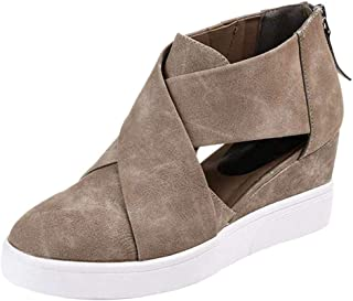 COOLCEPT Women Casual Wedge Heel Summer Shoes Closed Toe