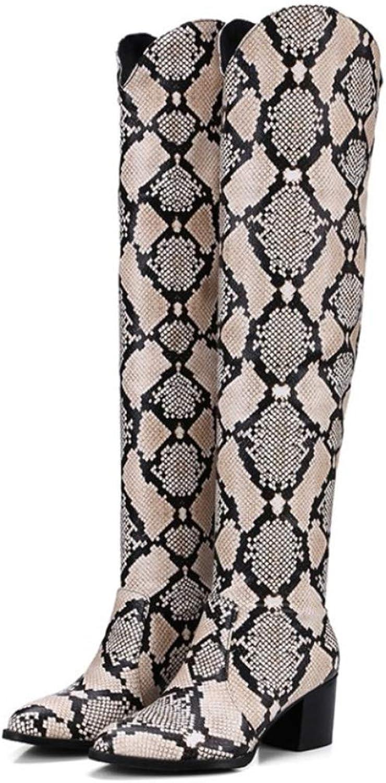 DANDANJIE Damen Stiefel Leopardenmuster Wintermode Stiefel Low Heel Spitzschuh Schuhe    Guter weltweiter Ruf