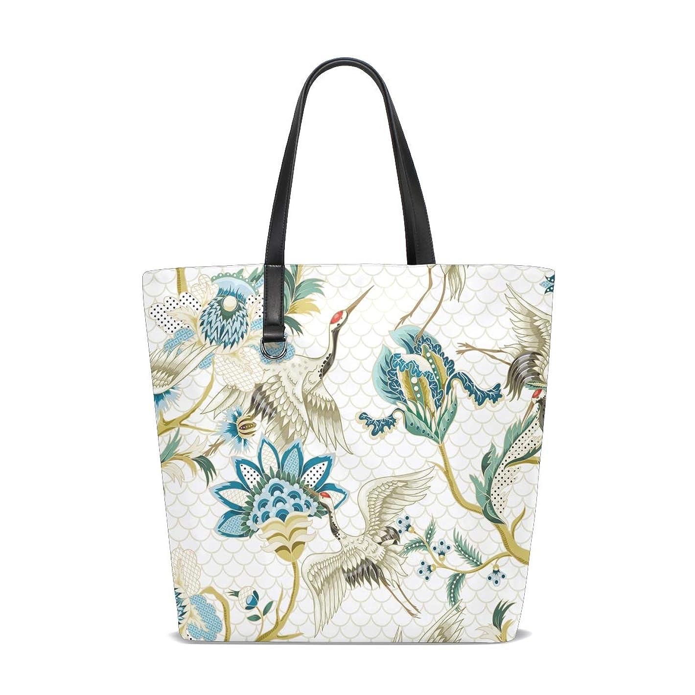 ロータリー八奇跡的なトートバッグ かばん ポリエステル+レザー クレーンと花柄 抽象 木ノ葉 両面使える 大容量 通勤通学 メンズ レディース