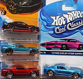 Hot Wheels Detailed Diecast 2010 Ford Shelby GT-500 Super Snake Cobra: Cool Ones Series Real Riders #30/30, Red 10 Spoke, Metallic Aqua & Black Scattered Chrome FTE {4 Pieces} 1/64 Scale Collection.