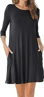 TINYHI Women's O-Neck 3/4 Sleeves Tunic Pocket Loose Casual Swing Tshirt Dress