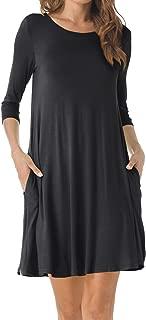 Women's O-Neck 3/4 Sleeves Tunic Pocket Loose Casual Swing Tshirt Dress