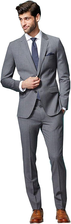 SHENLINQIJ Grey Slim Fit Two Piece Formal Men's Wedding Business Suit Tuxedo