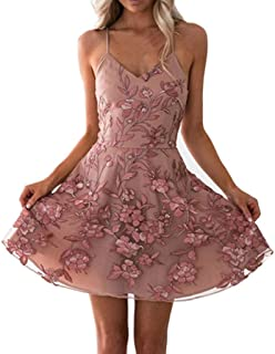 Women Summer Sleeveless Mini Dress, Ladies O-neck Floral Printed Party Short Dress Princess Dress