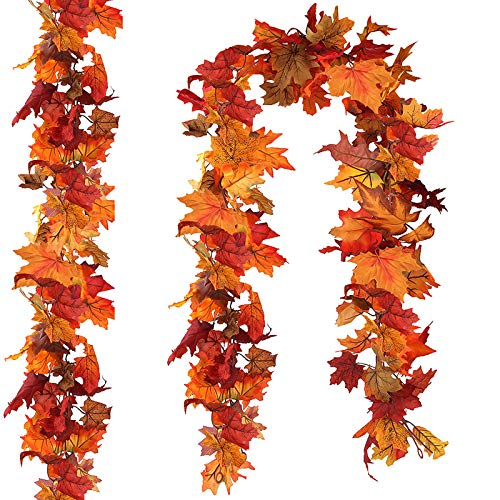 CQURE 2 Pack Artificial Autumn Fall Maple Leaf Garland, 5.9Ft/Piece Hanging Vine Garland Artificial Autumn Foliage Garland Thanksgiving Decor for Home Wedding Fireplace Party Christmas