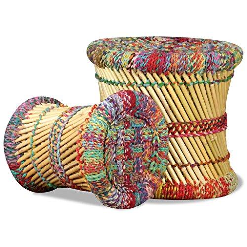 Festnight 2 pcs Jeu de Tabouret en Bambou avec Détails Chindi Multicolore