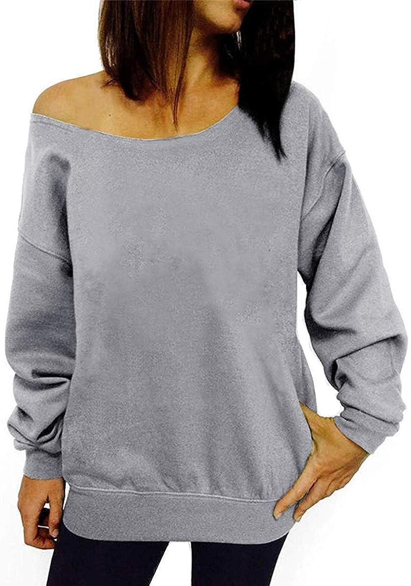 Dutebare Women Off Shoulder Sweatshirt Slouchy Shirt Long Sleeve Pullover Tops