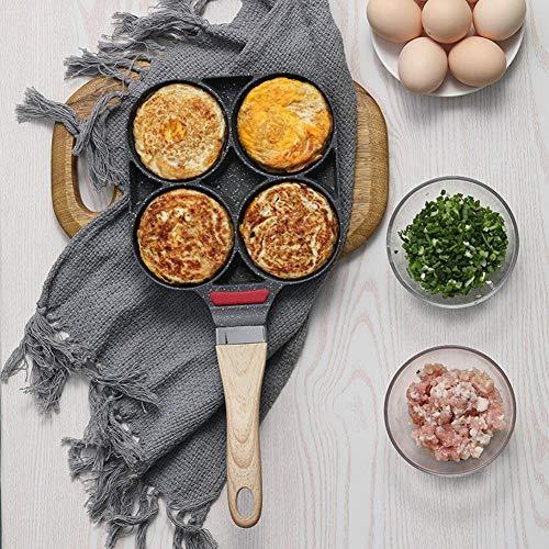 Heoolstranger Everybody richly Braadpan voor pannenkoeken, keukenhandwerk gietijzer, geschikt voor inductiekookplaat met vier gaten, wenkpan voor 4 eieren crepepan