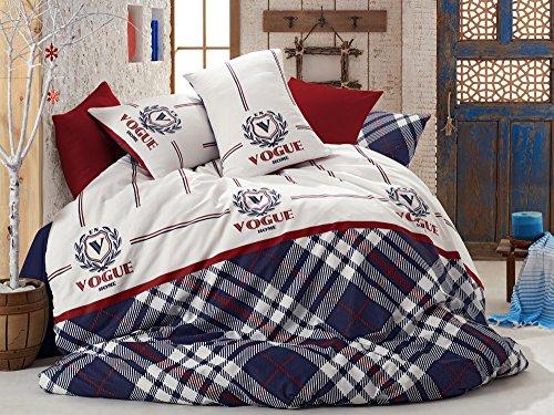 Housse de couette Parure de lit 3 pièces élégant Vogue Home Français Tartan écossais type Bleu foncé Blanc Rouge