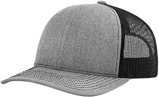 112 Mesh Back Trucker Cap Snapback Hat, Heather/Black