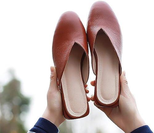 DEED Chaussures-Simples Femmes Pantoufles en Cuir Sandales Confortable Fermeture à Bout fermé Design Vintage Moderne été Décontracté Sauvages Chaussures Confortables