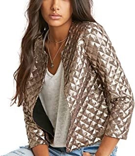ASMAX HaoDuoYi Women Basic Sparkly Plaid Sequin Short Biker Jacket Outwear