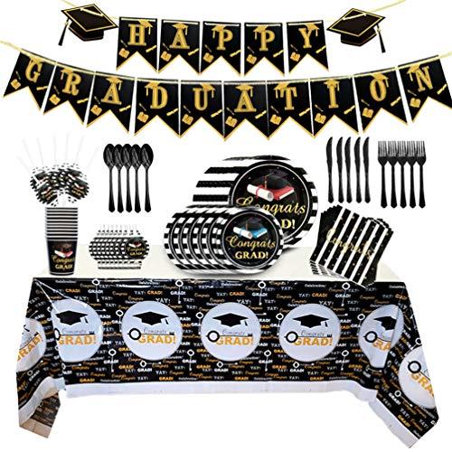 Tomaibaby 92 Piezas de Fiesta de Graduación   Vajilla Desechable   La Decoración de La Fiesta de Graduación Incluye Pancartas Manteles Cuchillos Cucharas Tenedores Platos de Papel Tazas Servilletas