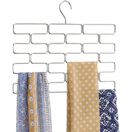 mDesign porte-foulard – range-foulard pour armoire et garde-robe économiseur d'espace – porte-écharpe suspendu avec 18 boucles – argenté