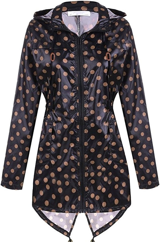 Brown Wave Point Black Raincoat Outdoor Flood Control Trench Coat Raincoat Ladies Long Sleeve Hooded Raincoat (Size   XXL)