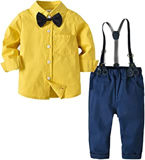 73980bc71 Kirbyates Toddler Baby Kids Boys Gentleman Bow Tie Cotton Long-Sleeved Shirt  Trousers Pants Set