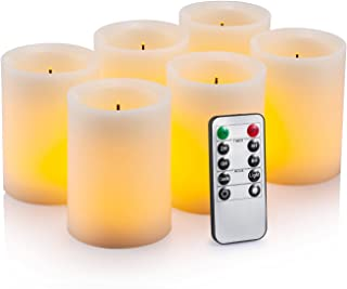 """Flameless Flickering LED Candles 3"""" X 4"""" with 10-Key Remote Control Timer Classic Pillar Optical Fiber Wick Real Wax Battery Operated Candles, Ivory Color, Set of 6"""