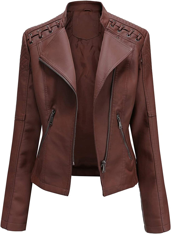 Women's Faux Leather Jacket Cropped Lapel Motor Coat Zip Biker Short Punk Tops Fashion Fall Comfy Outwear with Pocket