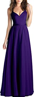 Chiffon V-Neck Long Prom Dresses Spaghetti Straps Bridesmaid Dress