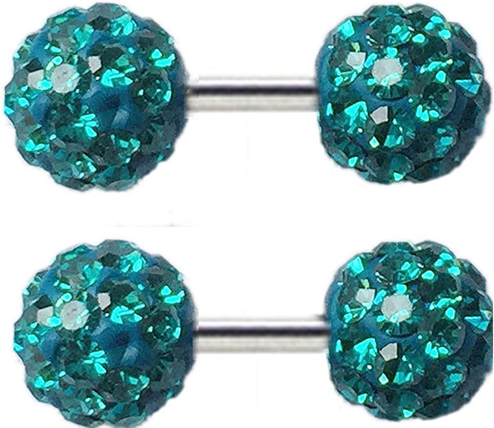 Thenice 1 Pair Earrings Full Crystal Barbell Ear Bone Screws 6mm Double Ball (Blue Zircon)