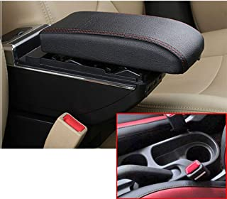 for Hyundai Solaris 2/Hyundai Accent/Verna 17-18 Luxury Car Armrest Center Console Accessories The Cover Can Raised Oversized Space Built-in LED Light with Cup Holder Removable Ashtray Black