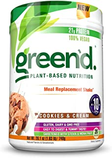 Complete Nutrition Green'd Meal Replacement Shake, Cookies & Cream, 100% Vegan, Probiotic, Pea Protein Powder, 20 Servings, 26.1oz Tub